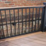 Trex Railing Signature in Black with Aluminum Square Black balusters and Azek Vintage Mahogany 1×4 Top Rail