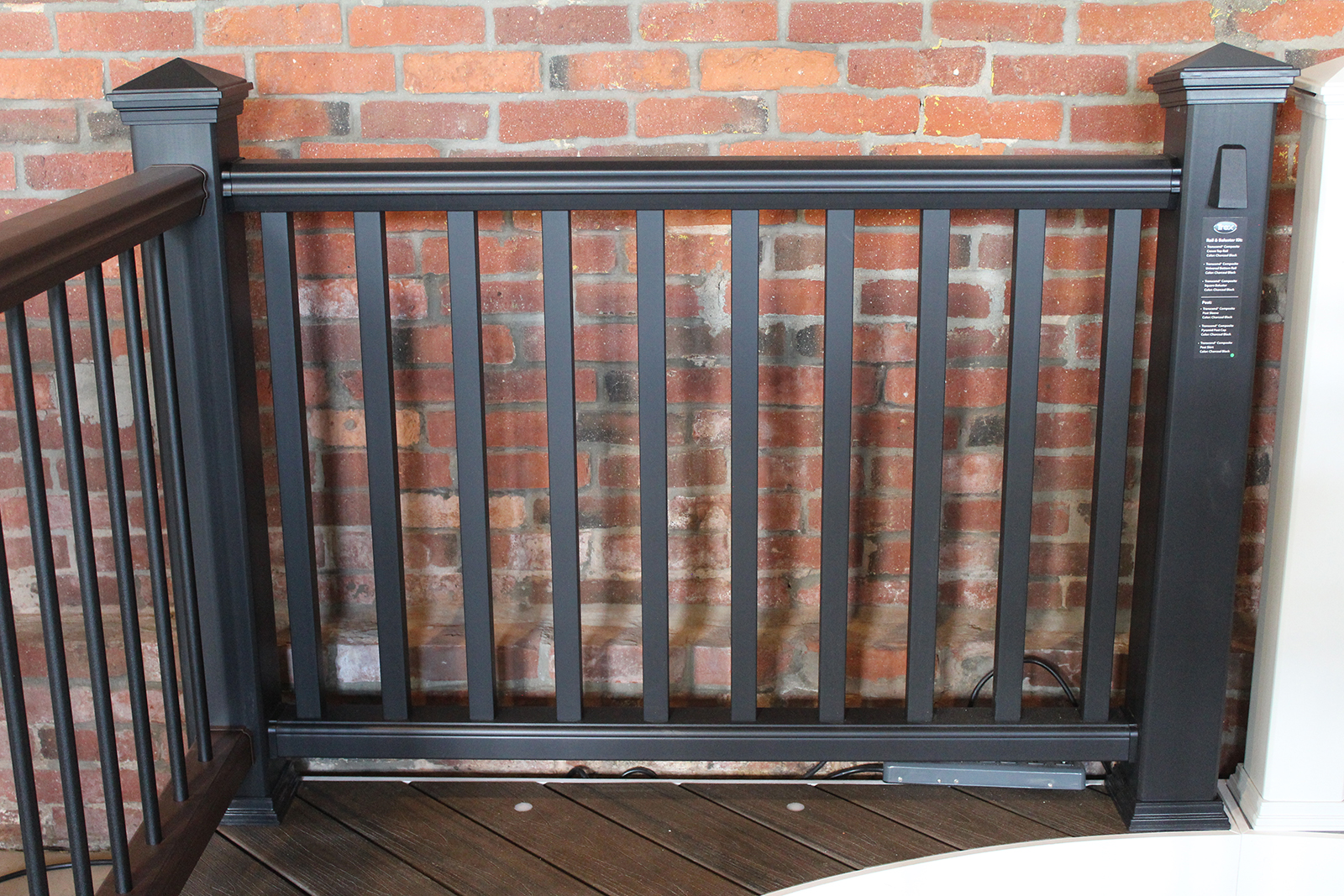 Trex Railing Transcend Crown Top Rail in Black with Square Composite Black Balusters