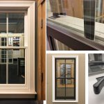 Andersen E-Series Double Hung Window Dark Bronze Exterior, White Interior, Grille between the Glass