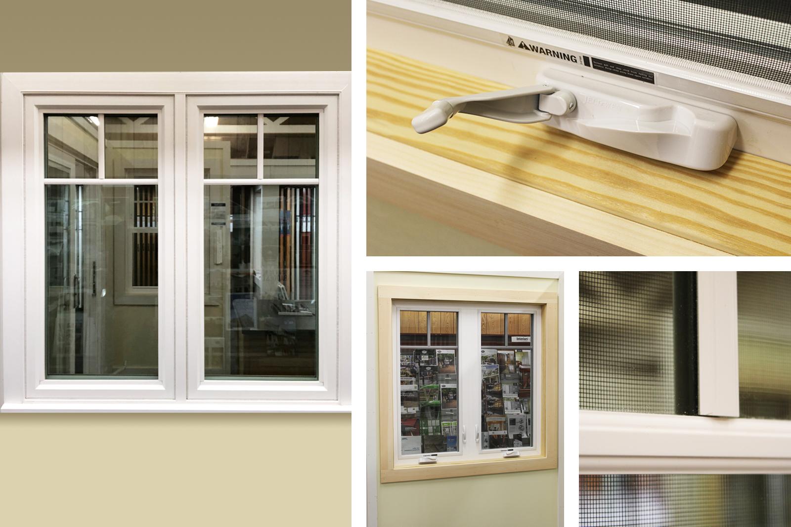 Jeldwen Premium Vinyl Casement Window, White, SDL Permanent Grilles