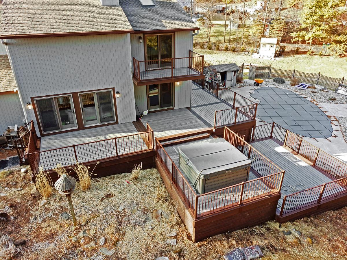 Regan Total Construction rebuilds a multi-level deck in Somers, CT