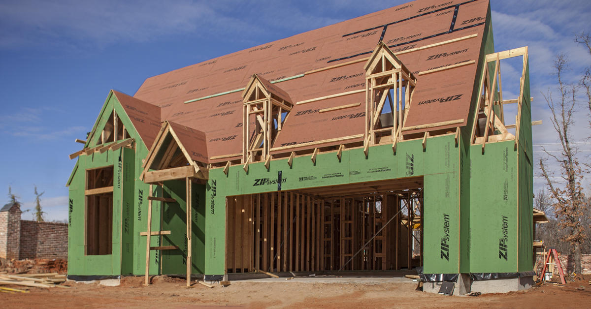 New construction home using Zip Systems home sheathing and tape