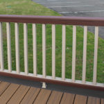 Trex Railing Transcend Universal Top Rail in Fire Pit with Fire Pit drink rail with Transcend Square Balusters in Rope Swing