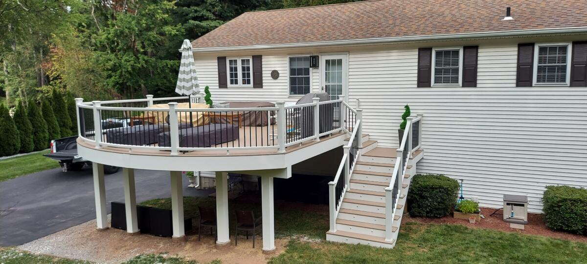 A Raised Deck with a Custom Curved edge by Morning Star Construction Company