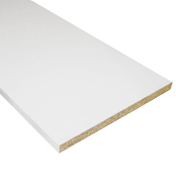 WHITE MELAMINE SHELF 2 SIDES,1 EDGE