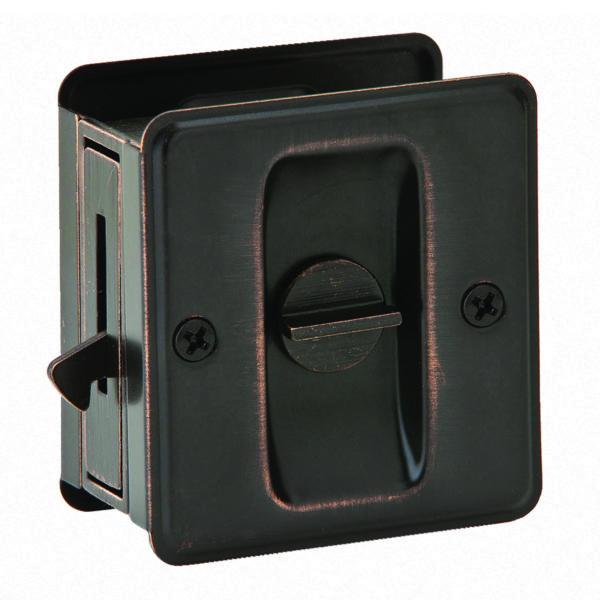PRIVACY POCKET DOOR LOCK AGED BRONZE