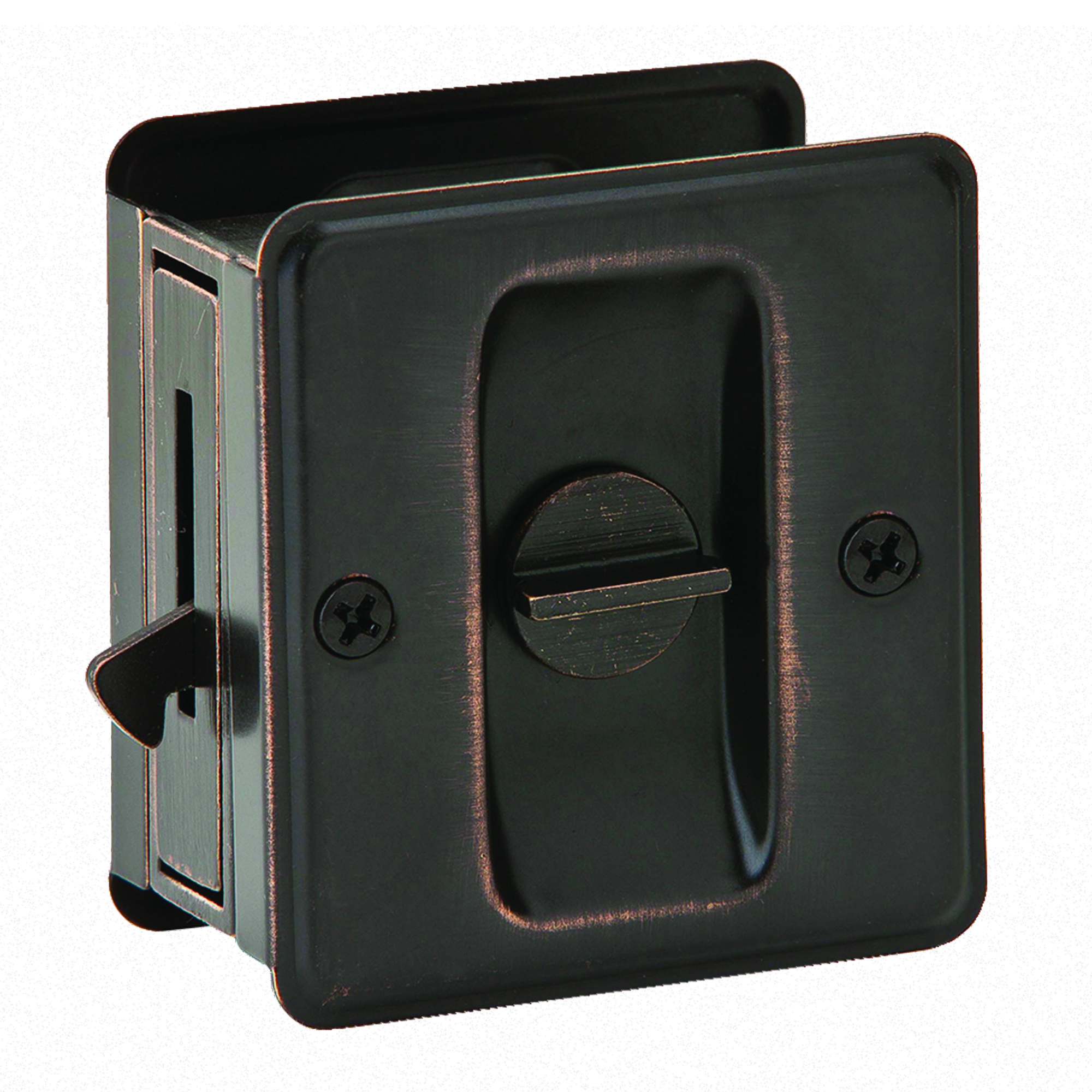 PRIVACY POCKET DOOR LOCK AGED BRONZE