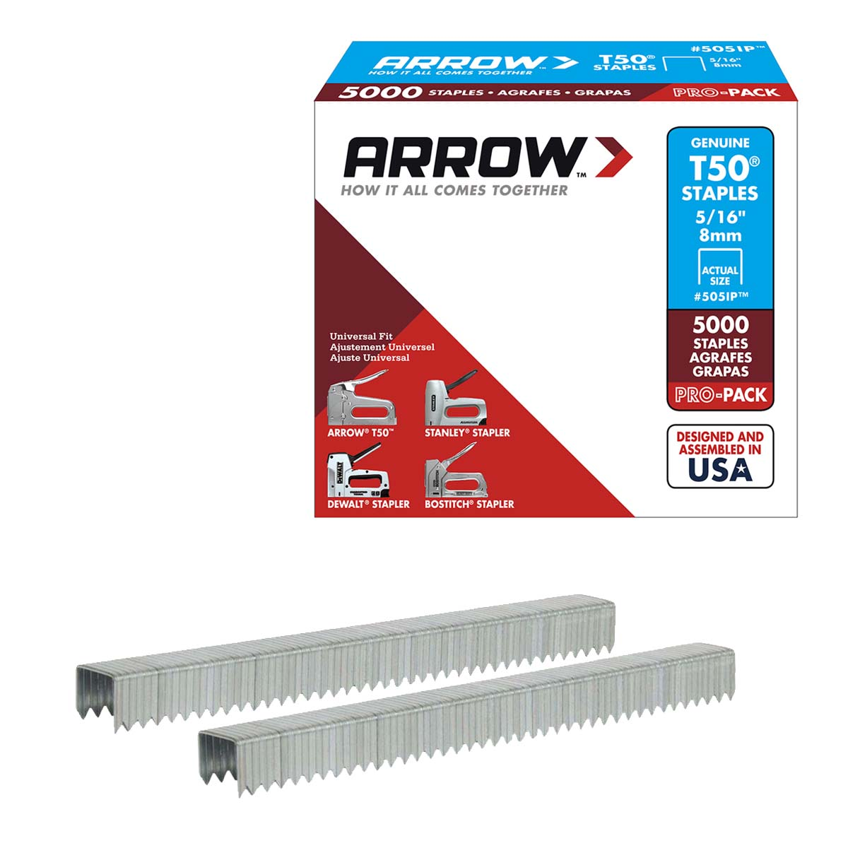 T50 ARROW 8MM HD STAPLES #505IP