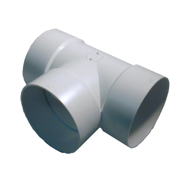 """4″ STYRENE """"T"""" CONNECTOR WH"""