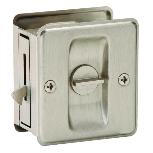 PRIVACY POCKET DOOR LOCK SATIN NICKEL