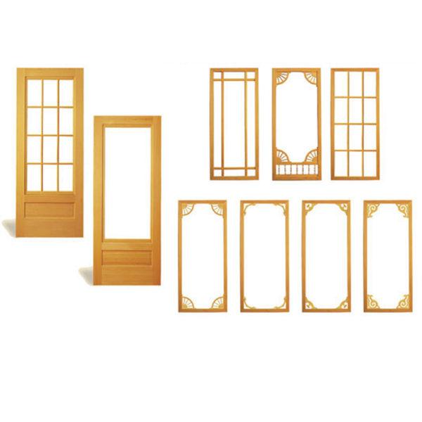 COMBINATION WOOD STORM AND SCREEN DOORS