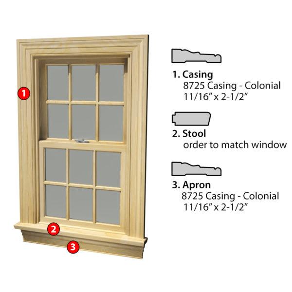 MSG ASSEMBLED WINDOW CASING 3SSA 8725