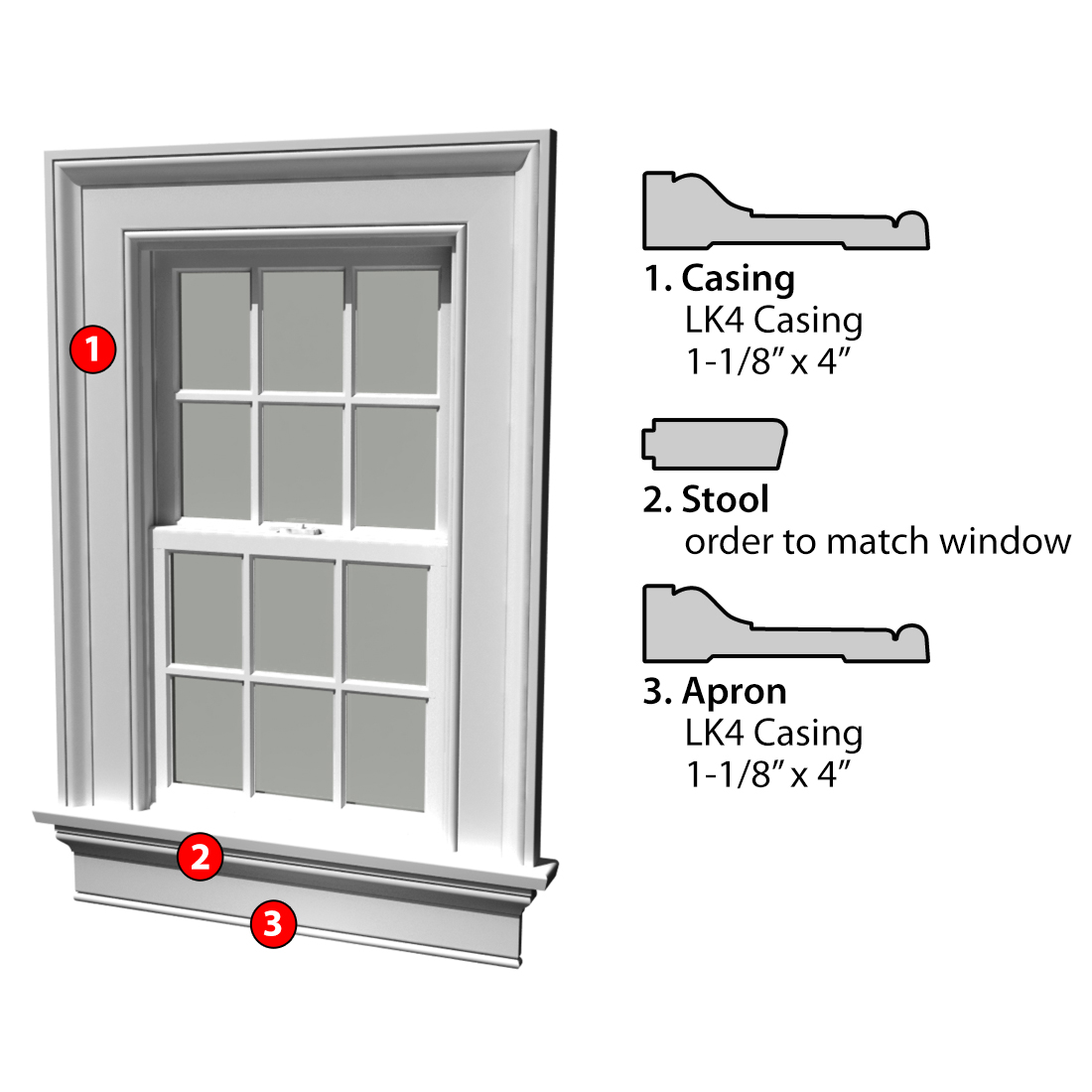 Msg Assembled Window Casing 3SSA LK4