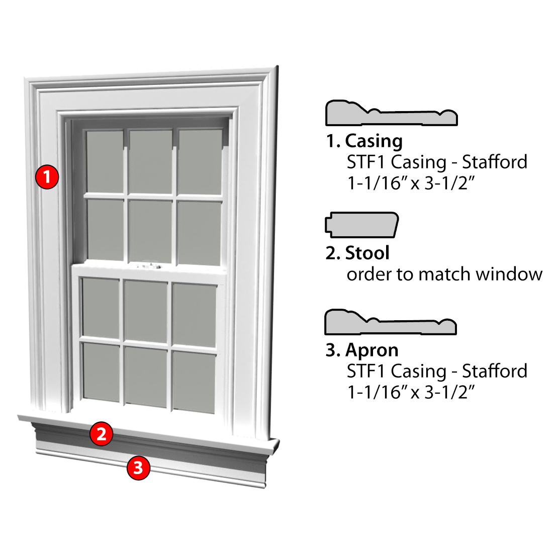 MSG ASSEMBLED WINDOW CASING 3SSA STF1