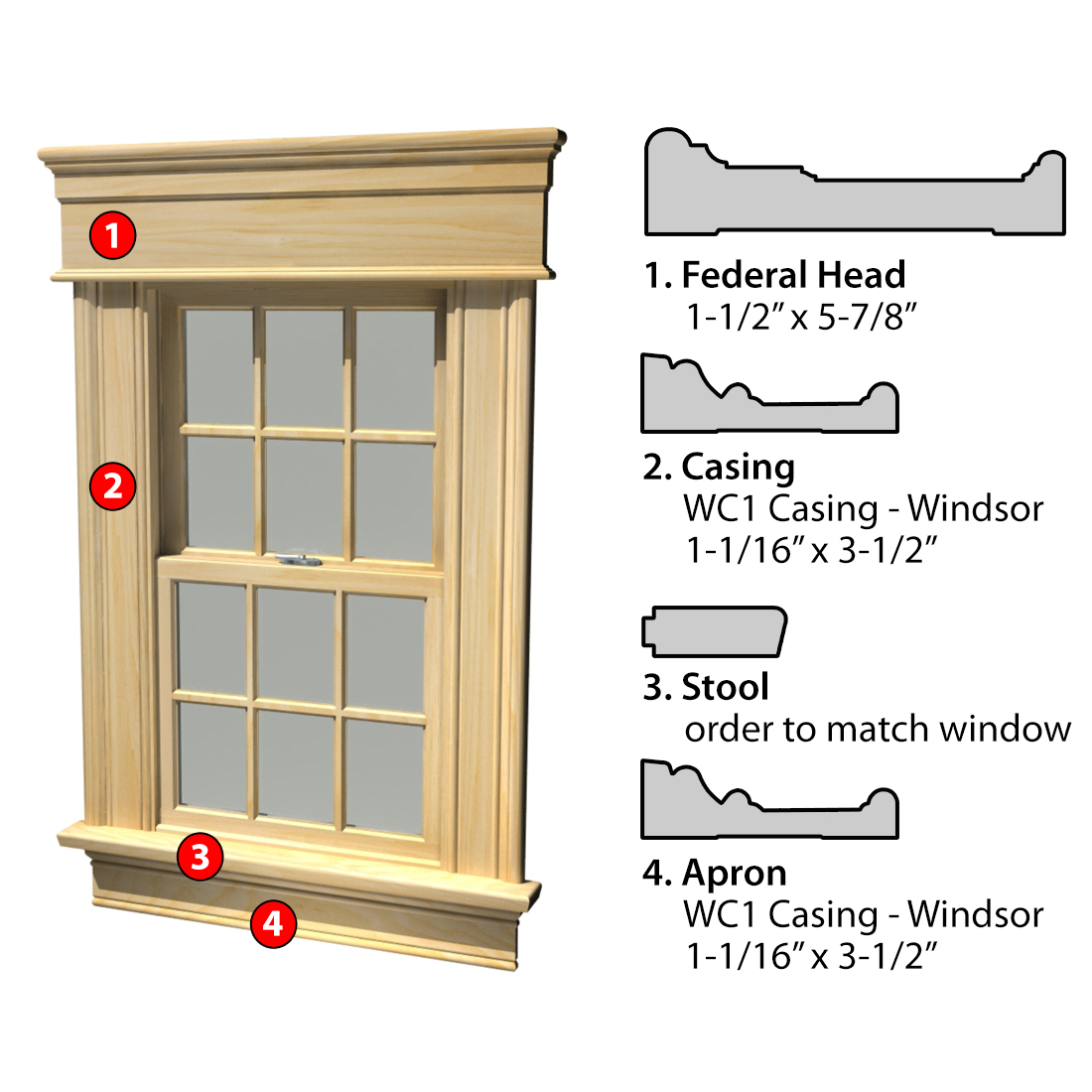 MSG ASSEMBLED WINDOW CASING 3SSA FED WC1