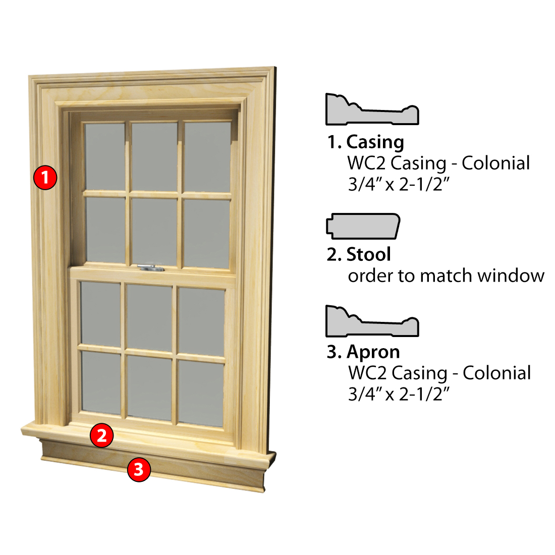 MSG ASSEMBLED WINDOW CASING 3SSA WC2