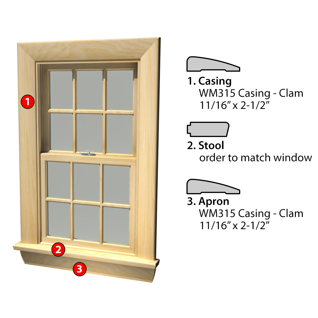 MSG ASSEMBLED WINDOW CASING 3SSA WM315