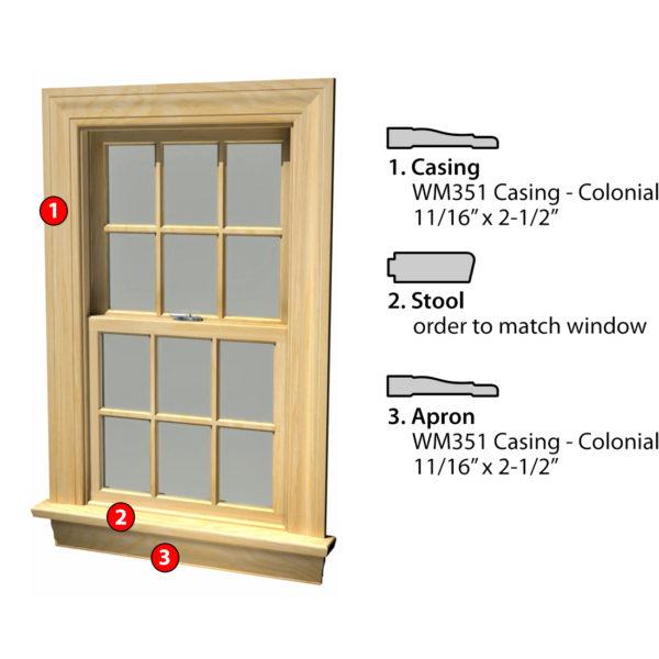 MSG ASSEMBLED WINDOW CASING 3SSA WM351
