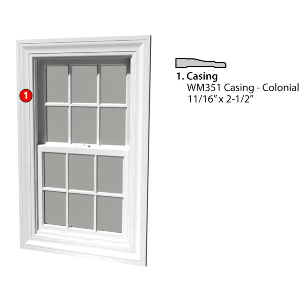 MSG ASSEMBLED WINDOW CASING 4S WM351